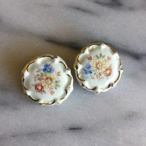 Vintage Porcelain Clip Earrings
